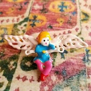 Jewelry - Cute Angel brooch enamel gold pin cherub blonde